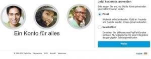 Anmeldeformular auf PayPal.de