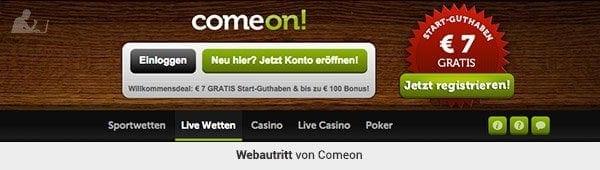 ComeOn Webaufritt