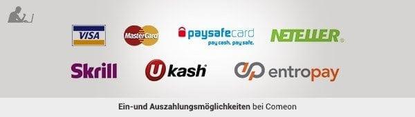 ComeOn Zahlungsmethoden