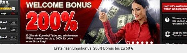 Tipbet heißt neue Spieler mit einem 200% Bonus willkommen