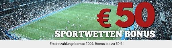 100% bis zu 50 Euro als Willkommensgruß