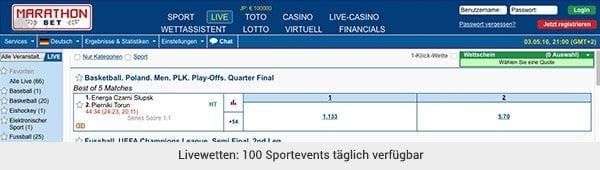 Marathonbet Livewetten Center
