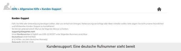 Stargames deutscher Support