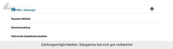 Stargames Einzahlung und Auszahlung