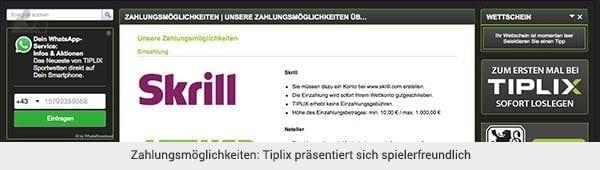 Tiplix Einzahlung und Auszahlung Übersicht