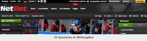 NetBet Sportwetten Angebot