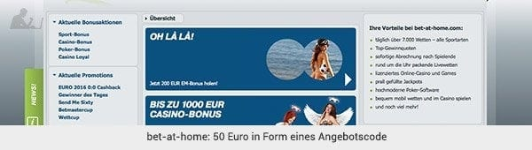 bet-at-home Angebot Code
