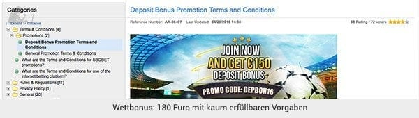 SBOBET Bonus Angebot