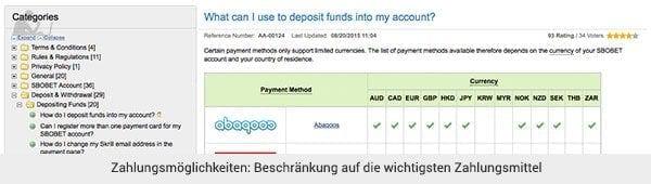 SBOBET - Einzahlung und Auszahlung