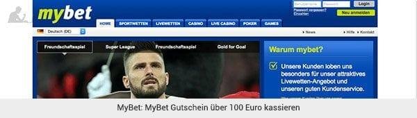 mybet - Gutschein 100 Euro