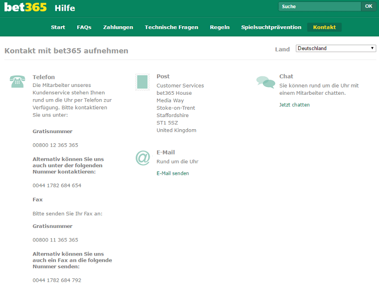 bet365 Live-Chat