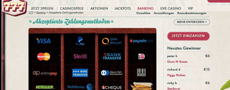 Zahlungsmethoden 777 Casino