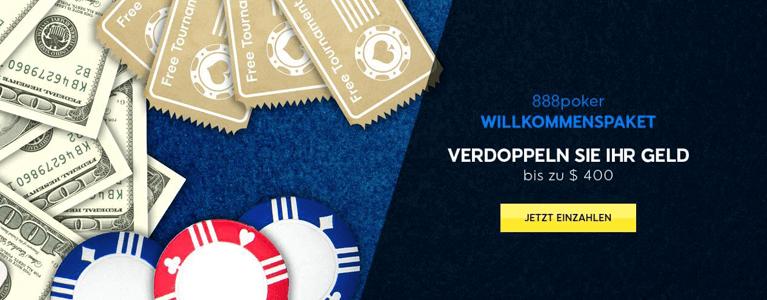 888 Poker Bonus nutzen und Geld der ersten Einzahlung verdoppeln