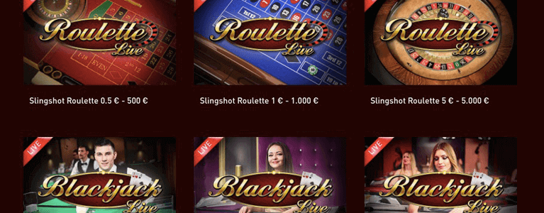 Spielauswahl Live Casino