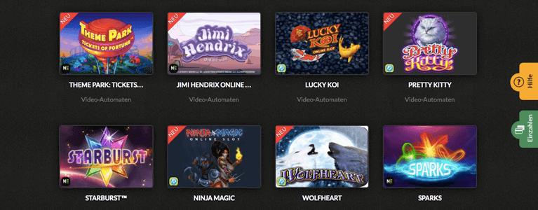 Spielauswahl Video-Automaten
