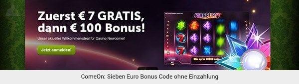 ComeOn Bonus ohne Einzahlung