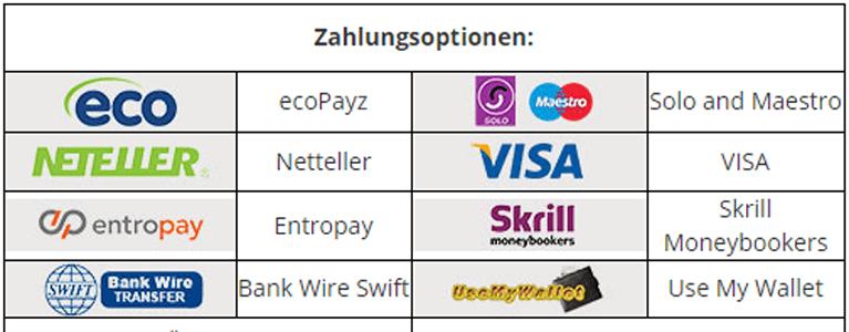 Zahlungsmethoden des Euro Palace