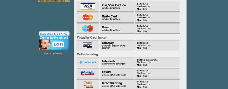 Übersicht Zahlungsmethoden