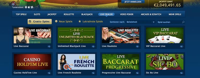 Live-Dealer-Bereich Europa Casino