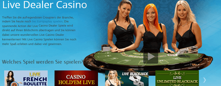 Europaplay Live-Casino mit Live-Dealern