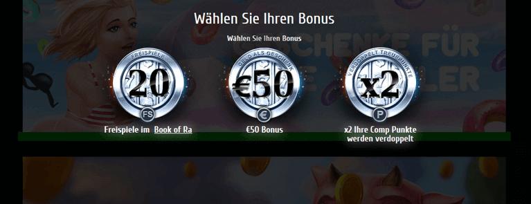 Drei verschiedene Bonusangebote stehen neuen Kunden im Futuriti Casino zur Verfügung