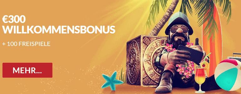 Guts Casino Willkommensbonus bis zu 300 Euro und 100 Freispiele für Starburst