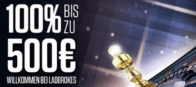 500 Euro Bonusguthaben für neue Kunden im Ladbrokes Casino