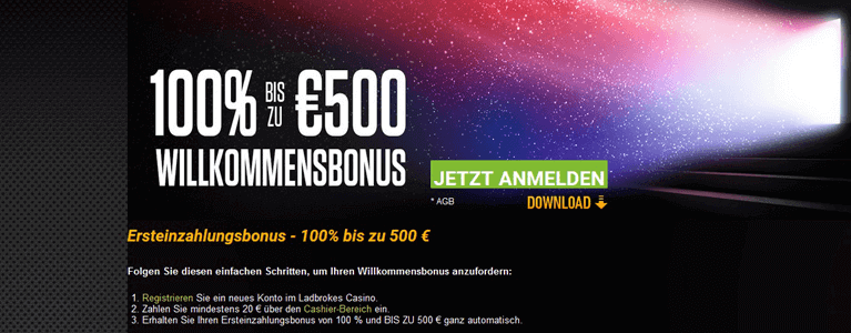 Bis zu 500 Euro Willkommensbonus im Ladbrokes Casino