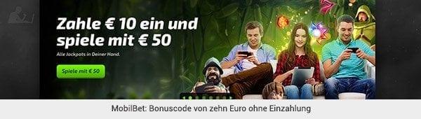 MobilBet - Bonus ohne Einzahlung
