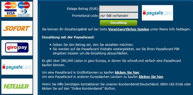 Viele Varianten zur Ein- und Auszahlung stehen den Kunden des Prestige Casinos zur Verfügung
