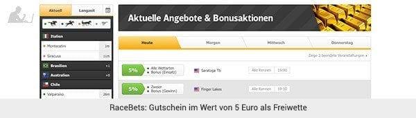 RaceBets 5 Euro Gratiswette
