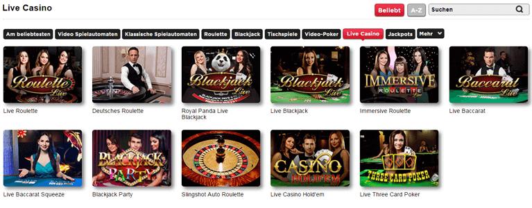 Royal Panda Live Spiele des Live Casinos