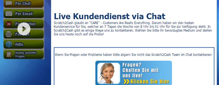 Scratch2Cash Kundendienst per Live-Chat