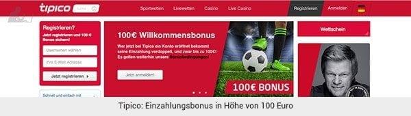 Tipico 100 Euro Einzahlungsbonus