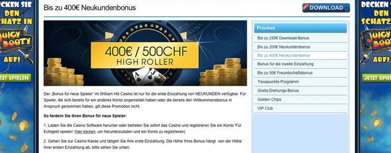 Highroller Bonus William Hill Bildunterschrift: