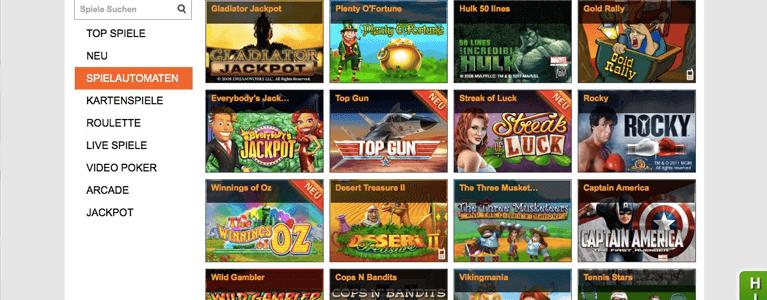 Spieleportfolio Winner Casino
