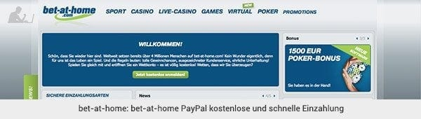 bet-at-home Einzahlung mit PayPal