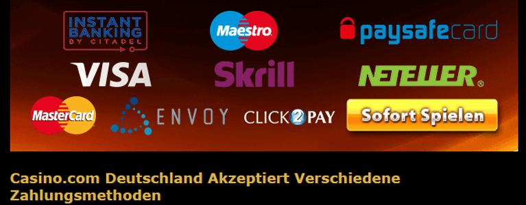 Für die Ein- und Auszahlungen stehen den Spielern auf Casino.com zahlreiche Methoden zur Verfügung