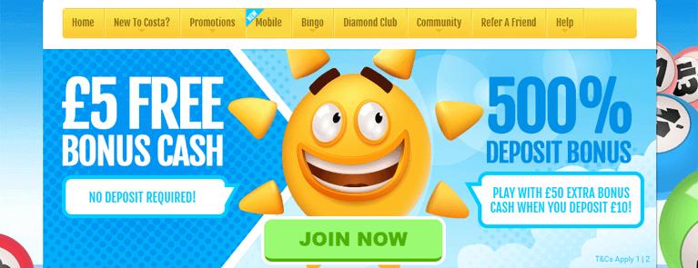 Costa Bingo Bonus Codes