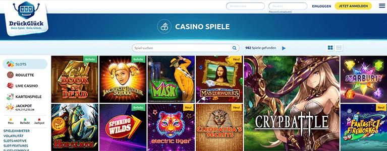 DrückGlück Casino Casinospiele