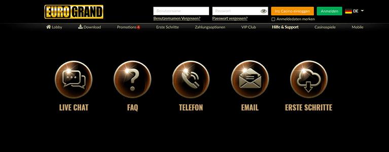 Eurogrand Casino Kundenservice