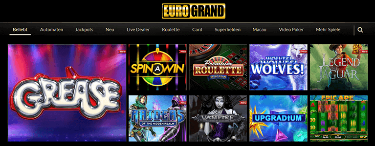 Eurogrand Casino Spieleauswahl & Slots