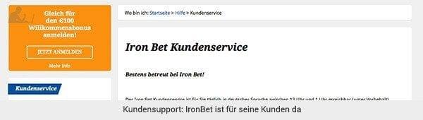 Ironbet Support und Kundenservice