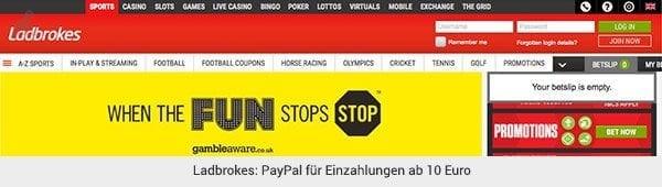Ladbrokes PayPal Einzahlungen
