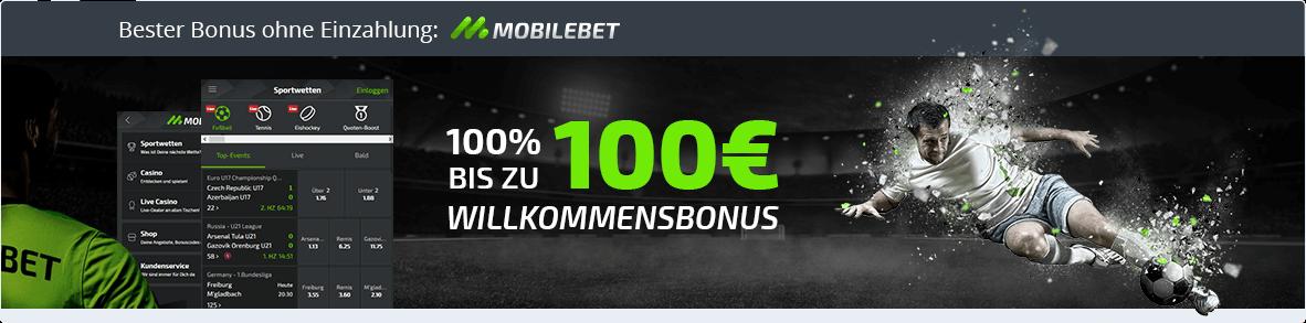 Mobilebet Banner: Neukundenbonus bis zu 100 Euro