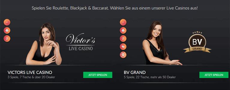 BetVictor Casino Live-Tische-Angebot