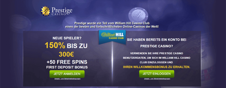 Prestige Casino Willkommensbonus bis zu 300 Euro und 50 Free Spins