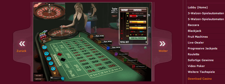 Im Live Casino des Ruby Fortune Casinos warten die beliebtesten Tischspiele auf die Kunden