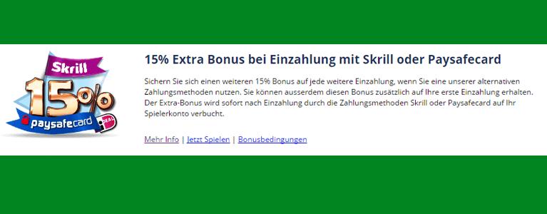 Bonusangebot für Paysafecard Nutzer