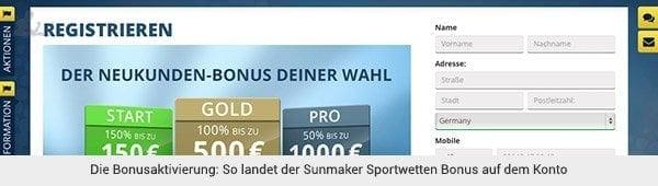 Sunmaker Bonus Aktivierung
